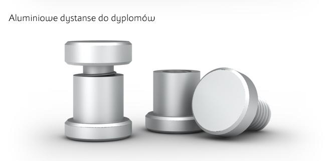 Aluminiowe dystanse do dyplomów.