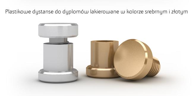 Kołki ozdobne do dyplomów, certyfikatów, podziękowań wykonane z plastiku lakierowanego na kolor srebrny lub złoty.