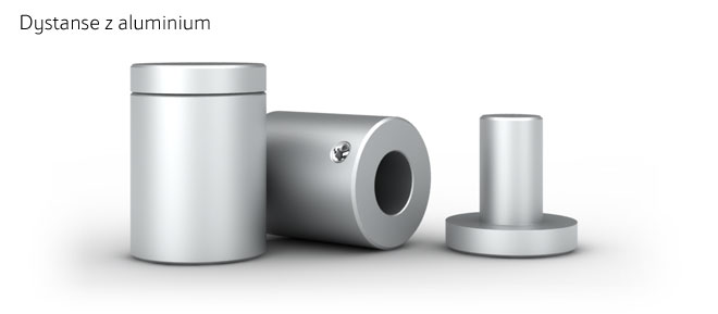Dystanse do szyldów wykonane z aluminium