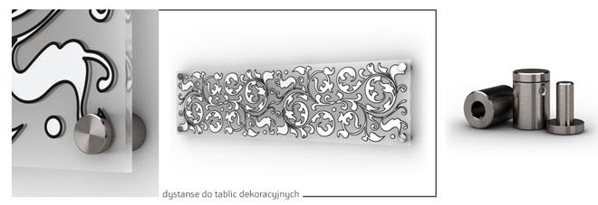 Ozdobne stalowe kołki dystansowe do montażu dekoracyjnych tablic