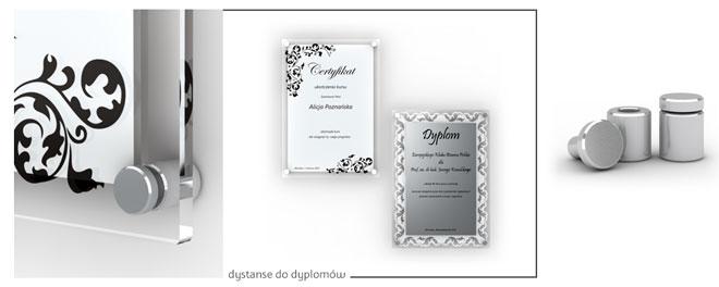przykład montażu tabliczki z dedykacją do dyplomu i certyfikatu