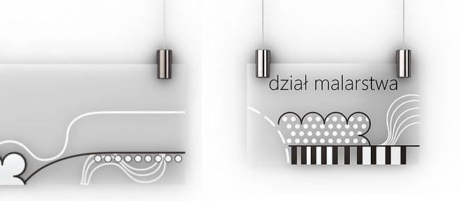 Przykład montażu tabliczek od góry na systemie linkowym