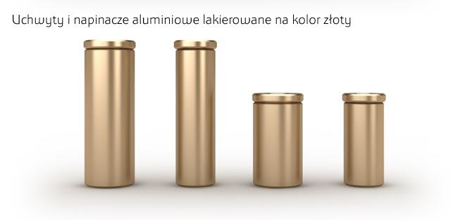 Napinacze i uchwyty aluminiowe lakierowane na kolor złoty