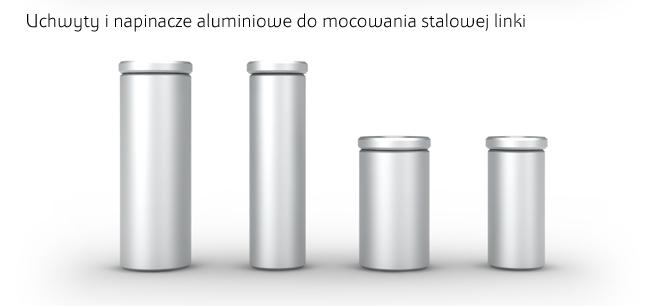 Napinacze i uchwyty aluminiowe do systemu linkowego montażu tablic i szyldów, w kolorze srebrnym
