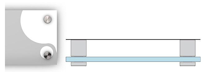 Schemat mocowania tabliczki do ściany na ozdobnych dystansch