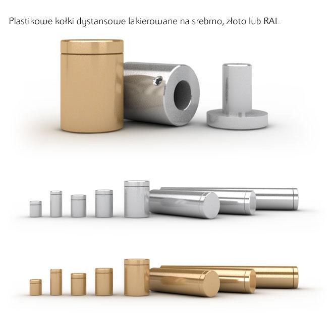 Plastikowe kołki dystansowe lakierowane na kolor srebrny, złoty lub na wybrany kolor według próbnika RAL