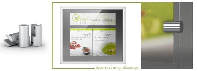 System dystansów i linek stalowych do montażu tablic informacyjnych i reklamowych w witrynach sklepowych i oknach biurowych