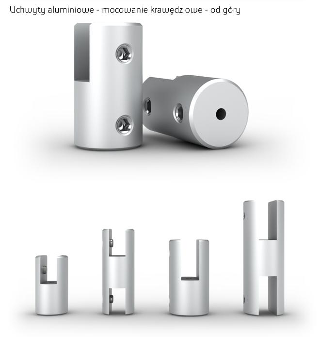 Aluminiowe uchwyty do montażu od góry tabliczek na systemie linkowym. Kolor srebrny