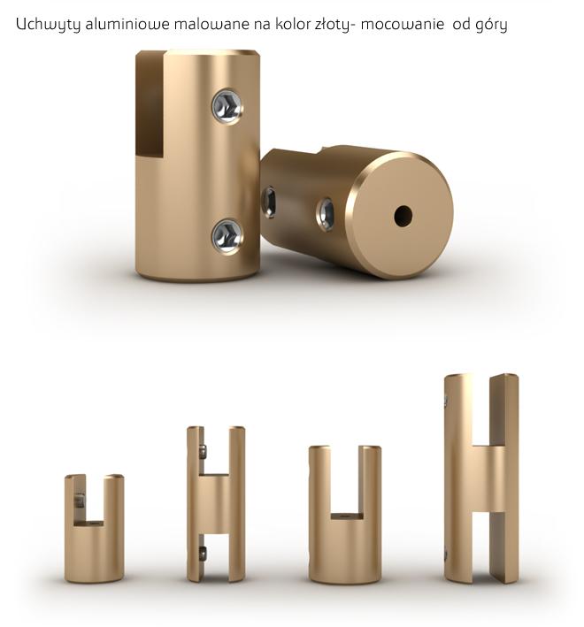 Aluminiowe uchwyty w kolorze złotym do montażu szyldów od góry na systemie linkowym