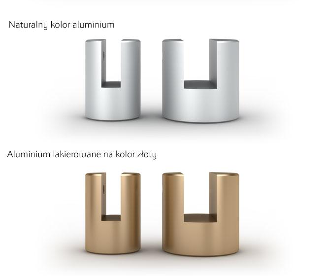 Uchwyty aluminiowe srebro w kolorze naturalnym, kolor złoty laierowany do montażu tablic prostopadle do sciany