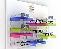 Ekspozytor na okulary wykonanay z kolorowej pleksi i lakierowanej płyty aluminiowej