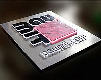 Kaseton podświetlany z metalowym srebrnym licem i wystającymi literami