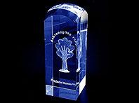 Szklana statuetka grawerowana laserem 3d Darczyńca Roku