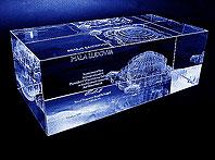 Wrocławska pamiątka szklana statuetka z Halą Ludową