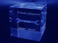 Szklana statuetka grawerowana laserem 3d - W dowód wdzięczności...