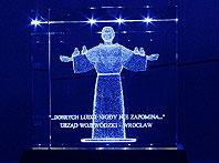 Święty Franciszek wygrawerowany 3d w szkle - Statuetka Podziękowanie za Wsparcie