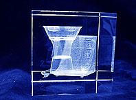 Statuetka pamiątkowa z przestrzennie wygrawerowanym Thermomixem w szkle optycznym