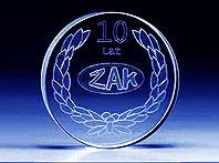 Szklany pamiątkowy medal na 10-cio lecie Żaka