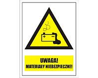 Tablica tabliczka ostrzegawcza - Uwaga Materiały Niebezpieczne