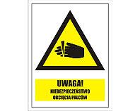 Tablica tabliczka ostrzegawcza - Uwaga niebezpieczeństwo obcięcia palców