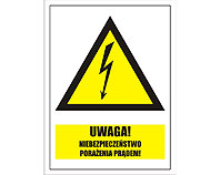 Tablica tabliczka ostrzegawcza - Uwaga Niebezpieczeństwo porażenia prądem