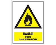 Tablica tabliczka ostrzegawcza - Uwaga strefa zagrożenia wybuchem
