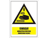 Tablica tabliczka ostrzegawcza - Uwaga niebezpieczeństwo zgniecenia dłoni