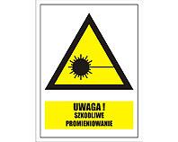 Tablica tabliczka ostrzegawcza - Uwaga szkodliwe promieniowanie