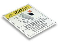 Tabliczka ostrzegawcza NIE DOTYKAĆ PASÓW I KÓŁ PASOWYCH