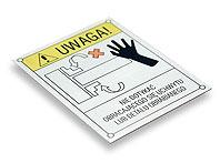 Tabliczka ostrzegawcza NIE DOTYKAĆ OBRACAJĄCEGO SIĘ UCHWYTU