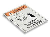 Tabliczka ostrzegawcza NIE WKŁADAĆ RĄK