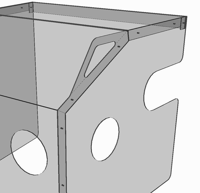 Osłona pudełko do intubacji - rysunek uchwytu do przenoszenia osłony