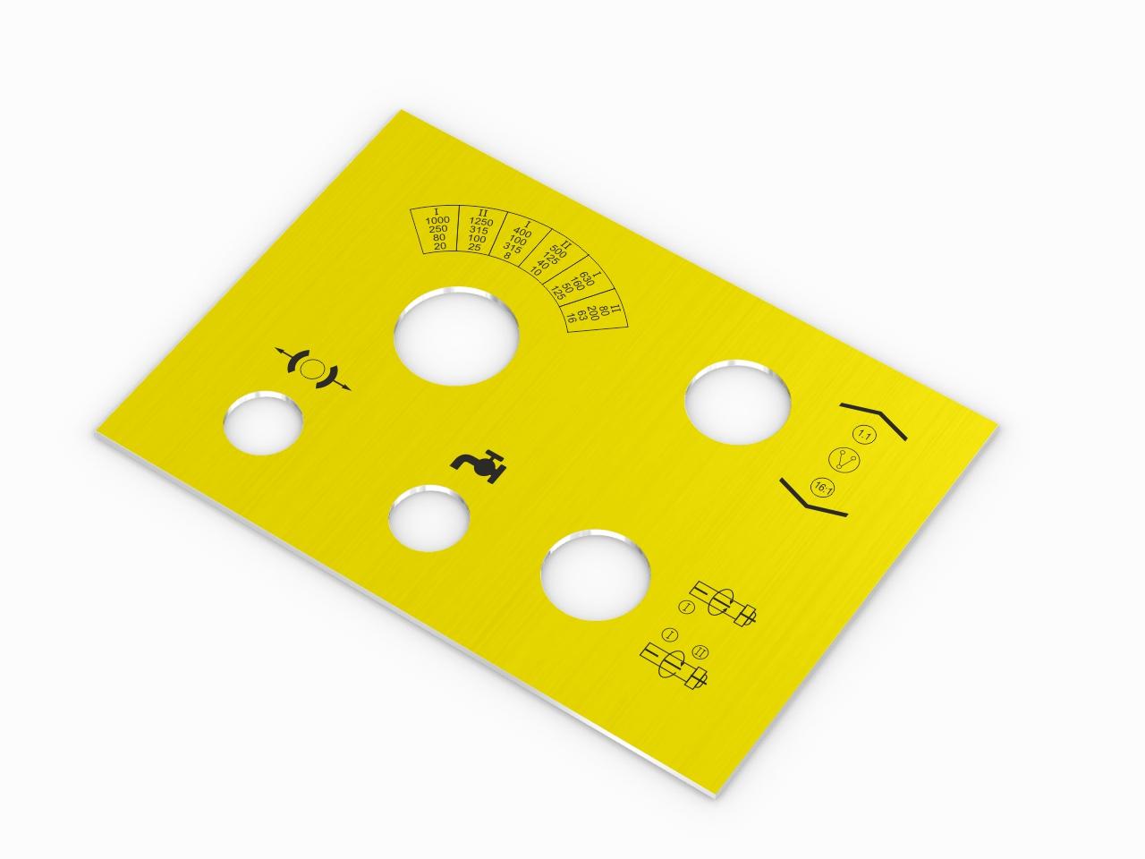 aluminiowy nieścieralny panel do sterowania maszyną w kolorze żółtym