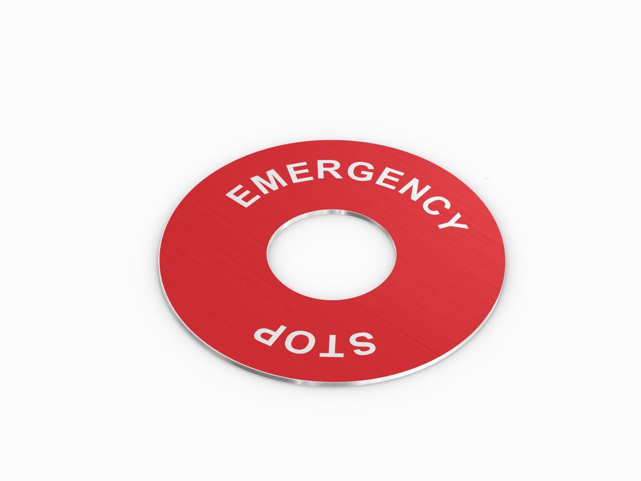 aluminiowy panel do przycisku emergency stop czerwony