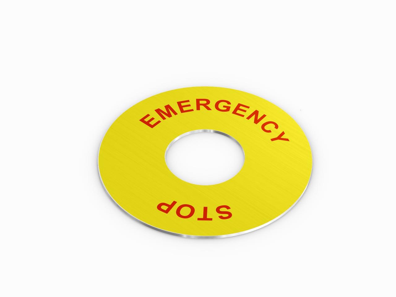 aluminiowy panel do przycisku emergency stop żółty
