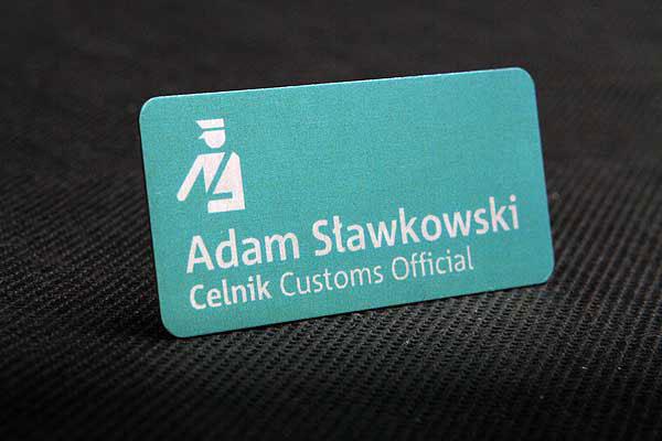 Metalowy identyfikator dla pracownika - identyfikator dla celnika
