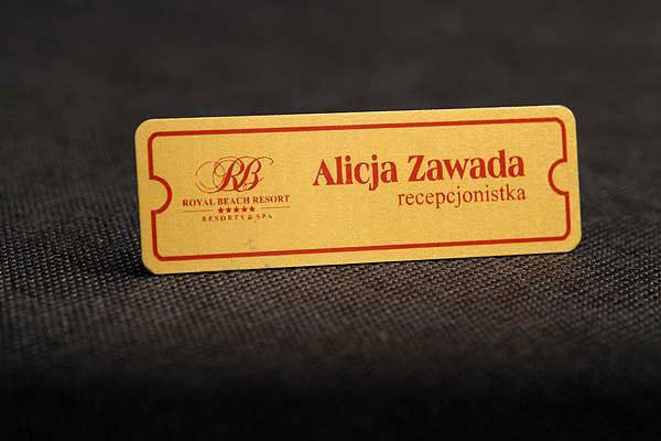 Złoto bordowy identyfikator dla pracownika - identyfikator dla recepcjonisty