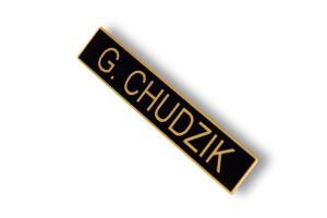 identyfikator imienny imiennik czarno złoty