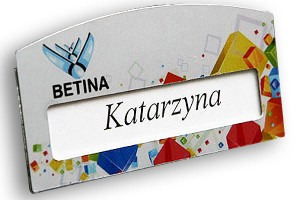 Identyfikator z okienkiem dla pracowników firmy Betina