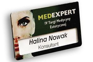 Identyfikator z okienkiem dla pracownika firmy MedExpert