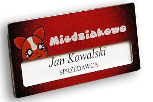 Identyfikator z okienkiem dla firmy Miedziakowo