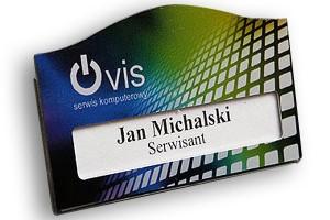 Identyfikator z okienkiem dla serwisu komputerowego VIS