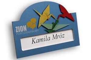 Identyfikator z okienkiem dla firmy Zion - niebieski