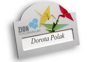 Identyfikator z okienkiem dla firmy Zion - srebrny