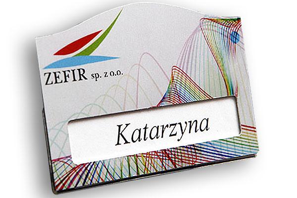 Identyfikator z okienkiem dla firmy Zefir