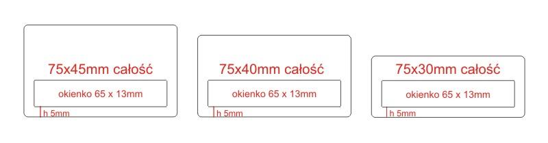 Wzornik standardowych identyfikatorów z okienkiem o szerokości 75 mm