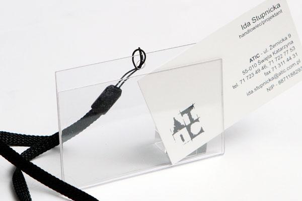 Bezbarwny identyfikator na wymienna wizytówkę do zawieszenia na smyczy
