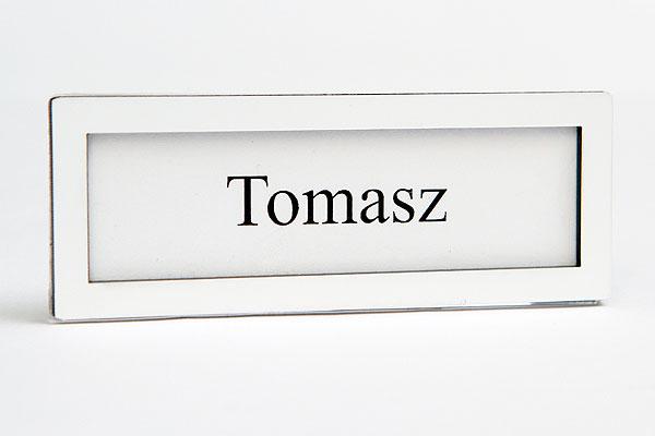 biała ramka identyfikator na wymienną wizytówką