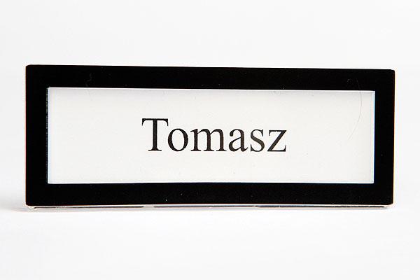 Czarna ramka identyfikator na wymienną wizytówką
