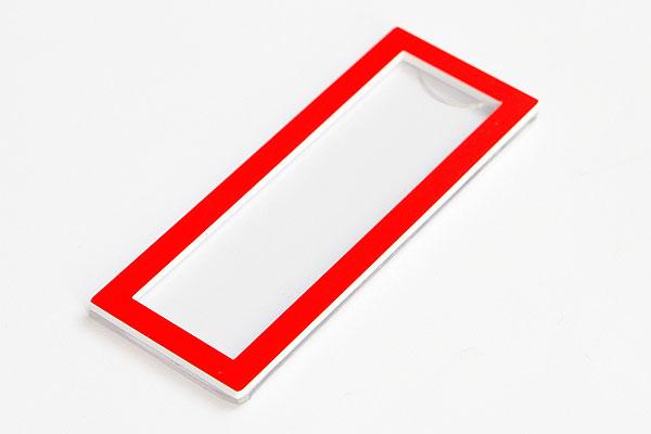 Identyfikator z wymienną etykietą z imieniem - czerwona ramka